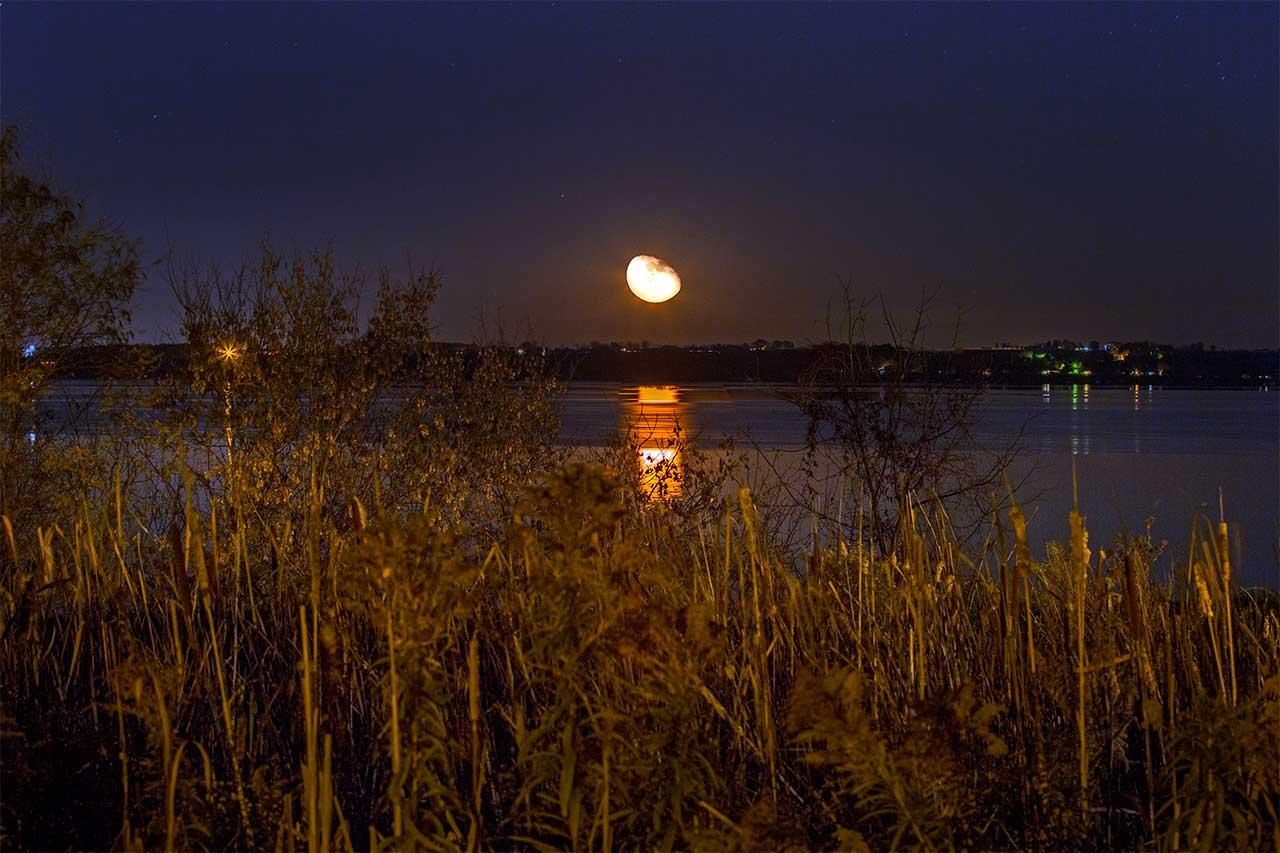 Moonrise over Seneca Lake on Thursday evening